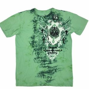 Affliction Mens Lime Green Short Sleeve T-shirt S
